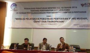 Komisioner KPI Pusat, Agung Suprio, menghadiri acara Sosialisasi Permen Kominfo No.18 tahun 2016 tentang Tata Cara Perizinan Penyiaran di Makassar, Kamis (23/3/17). Dok. kpi.go.id