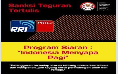 "Bincang Seks Di Luar Jam Dewasa, KPI Sanksi Acara ""Indonesia Menyapa Pagi"" di RRI Pro 3 FM Jakarta"